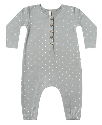 Quincy Mae Dusty Blue Long Sleeve Jumpsuit Basically Bows & Bowties