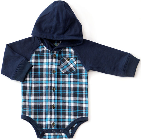 Kapital K Blue Starlight Plaid Hooded Flannel Bodysuit