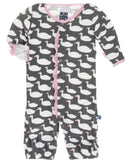 KicKee Pants Stone Geese Ruffle Layette Gown Convereter & Double Knot Hat Se