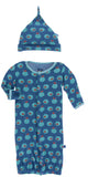 KicKee Pants Twilight Fishbowl Layette Gown Converter & Knot Hat Set