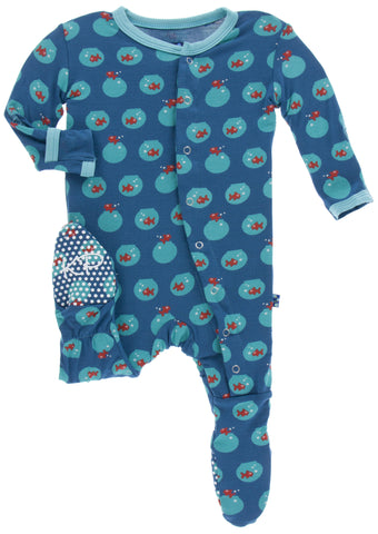 KicKee Pants Twilight Fish Bowl Print Footie w/Snaps - Basically Bows & Bowties