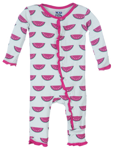 KicKee Pants Watermelon Fitted Muffin Ruffle Coverall