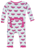 KicKee Pants Watermelon Fitted Muffin Ruffle Coverall BACK