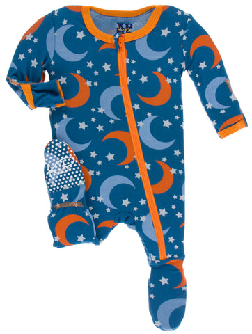 KicKee Pants Twilight Moon and Stars Footie with Zipper