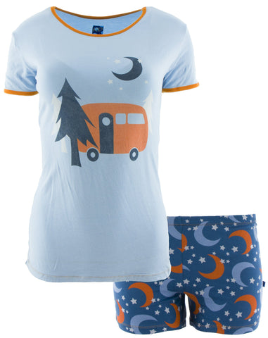 KicKee Pants Twilight Moon and Stars Pajama Set with Shorts