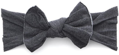 Baby Bling Stonewash Charcoal Patterned Knot Headband - Basically Bows & Bowties