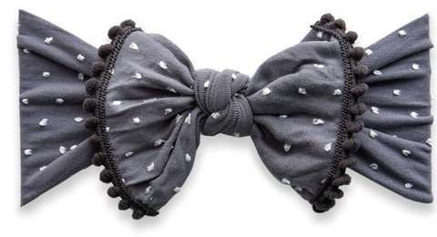Baby Bling Storm Shabby Dot Pom Trimmed Knot Headband - Basically Bows & Bowties