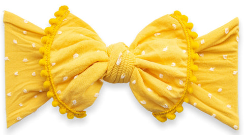 Baby Bling Mustard Shabby Dot Pom Trimmed Knot Headband - Basically Bows & Bowties
