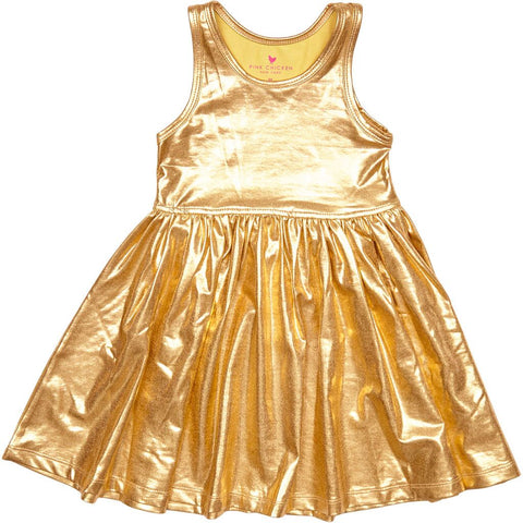 Pink Chicken Liza Gold Lame Dress