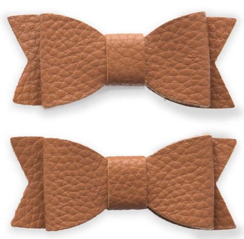 Baby Bling Leather Bow Tie Clip Set-Camel - Basically Bows & Bowties