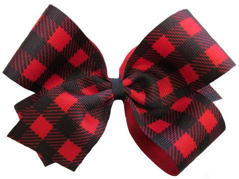 Large Buffalo Plaid Hair Bow on Clippie