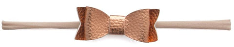 Baby Bling Leather Bow Tie Skinny Headband (20 Colors) - Basically Bows & Bowties