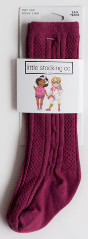 Little Stocking Co Maroon Knee High Socks