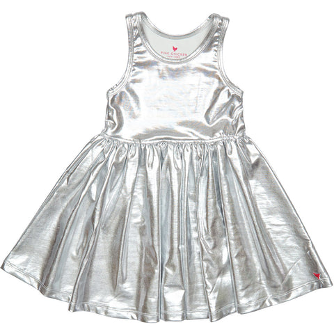 Pink Chicken Liza Lame Dress - Silver