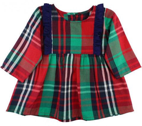RuffleButts Kennedy Plaid Flutter Tunic