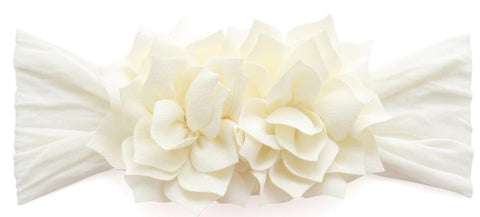 Baby Bling Lotus Flower Headband-Ivory - Basically Bows & Bowties