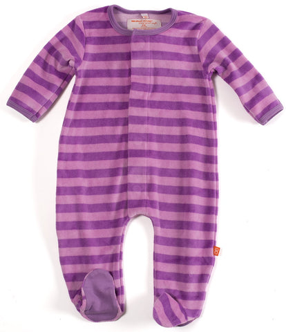 Magnetic Me Pink/Lavender Stripe Velour Magnetic Footie