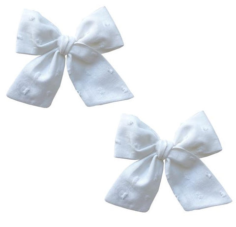 Baby Bling Big Cotton Bow Clip Set - White Clipped Dot