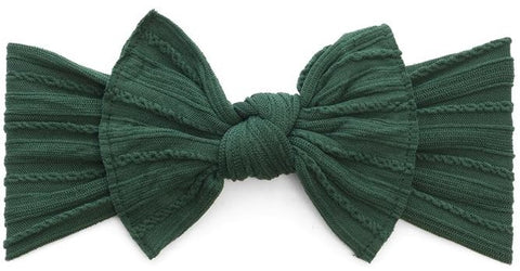 Baby Bling Forest Green Cable Knit Knot Headband - Basically Bows & Bowties