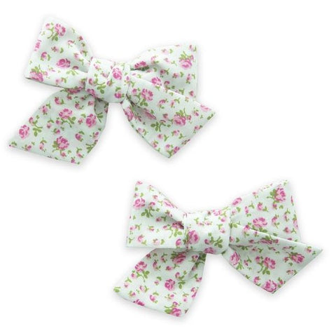 Baby Bling Mint Floral  Big Cotton Bow Clip Set Basically Bows & Bowties