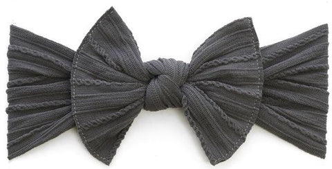 Baby Bling Charcoal Cable Knit Knot Headband - Basically Bows & Bowties
