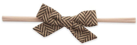 Baby Bling Brown Chevron Print Skinny Bow Headband