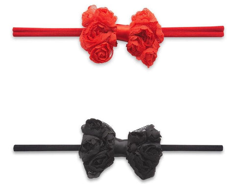 Baby Bling Mini Rose Bow 2pc Skinny Headband Set-Red+Black