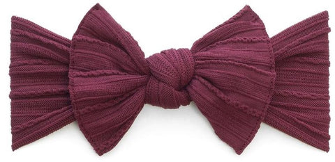 Baby Bling Burgundy Cable Knit Knot Headband - Basically Bows & Bowties