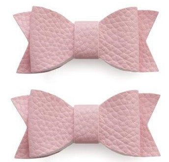 Baby Bling Leather Bow Tie Clip Set-Pink - Basically Bows & Bowties