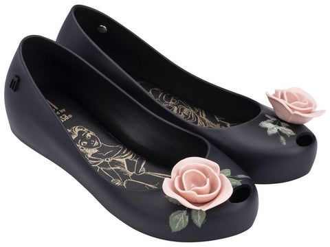 Black with Pink Rose Mel by Melissa Beauty & The Beast Shoes