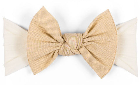 Baby Bling Metallic Knot Headband-Gold on Ivory - Basically Bows & Bowties