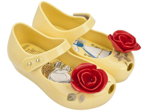 Mini Melissa Ultragirl Beauty & The Beast Shoes-Yellow with Red Roses