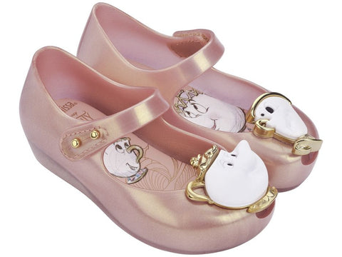Mini Melissa Ultragirl Metallic Pink Beauty & The Beast Shoes