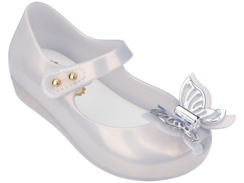 Mini Melissa Ultragirl Fly-Pearl w/Silver - Basically Bows & Bowties