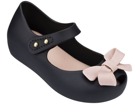 Black with Pink Mini Melissa Ultragirl Bow I