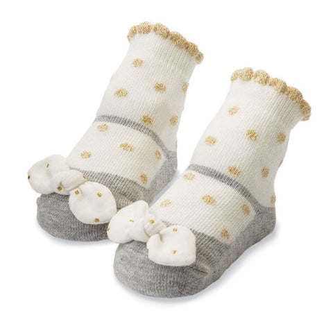 Mud Pie Gold Dot Bow Socks