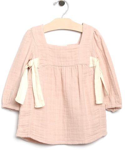 City Mouse Side Ties Muslin L/S Dress-Soft Rose