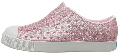 Native Jefferson Milk Pink Bling with Shell White Shoes