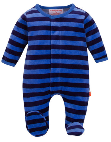 Magnetic Me Blue/Navy Velour Magnetic Footie