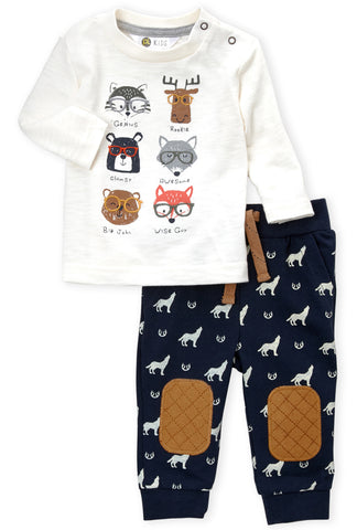 Petit Lem Wild Animals 2pc Shirt & Pant Set