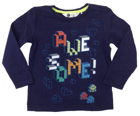 Petit Lem PL Kids Navy Blue Awesome Long Sleeve Shirt