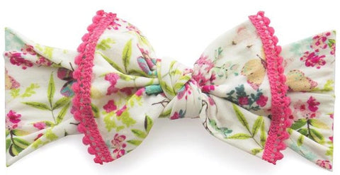 Baby Bling Butterfly Garden w/Hot Pink Pom Trimmed Knot Headband - Basically Bows & Bowties