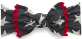 Baby Bling Denim Stars w/Cherry Pom Trimmed Knot Headband - Basically Bows & Bowties