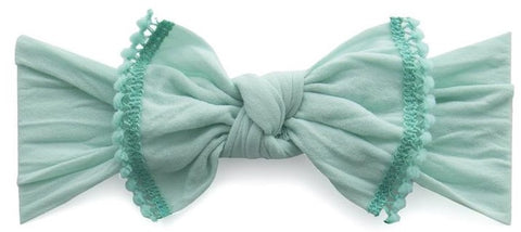 Baby Bling Seafoam w/Aqua Mini Pom Trimmed Knot Headband - Basically Bows & Bowties
