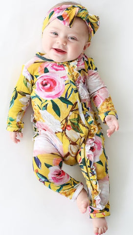 Posh Peanut Tuscan Yellow Floral Ruffle Zippered LS One Piece Ruffle Romper Basically Bows & Bowties