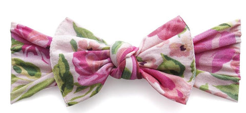 Baby Bling Pink Rose Printed Knot Headband - Basically Bows & Bowties