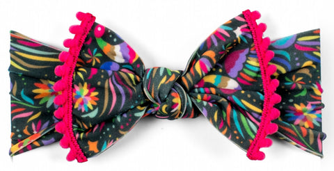 Baby Bling Cinco Bird w/Hot Pink Pom Trimmed Knot Headband - Basically Bows & Bowties