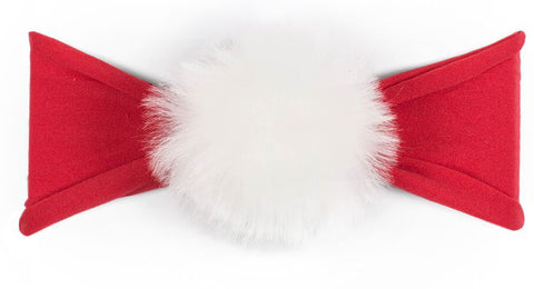 Baby Bling Fur Pom Headband-Cherry with White - Basically Bows & Bowties