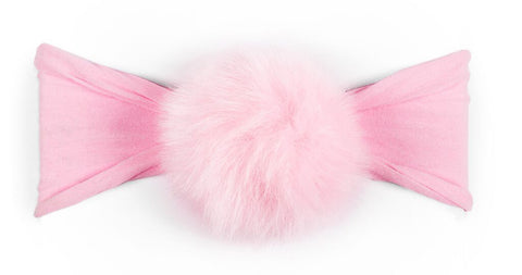 Baby Bling Fur Pom Headband-Pink - Basically Bows & Bowties