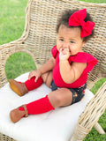 Little Stocking Co True Red Lace Top Knee High Socks